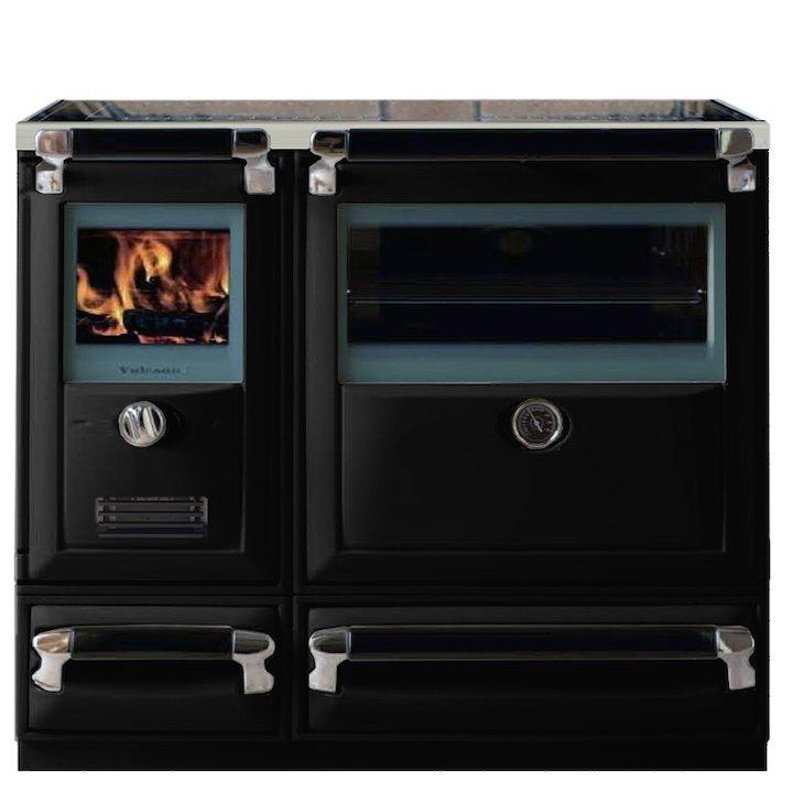 Lacunza Vulcano 8T Wood Burning Range Cooker Enamel Black Storage Draw Base - Enamel Black
