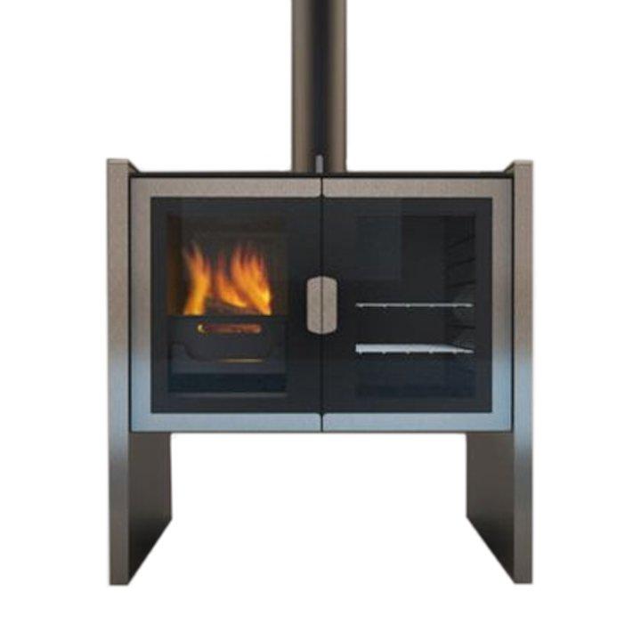 Firebelly Razen Wood Burning Range Cooker - Stainless Steel