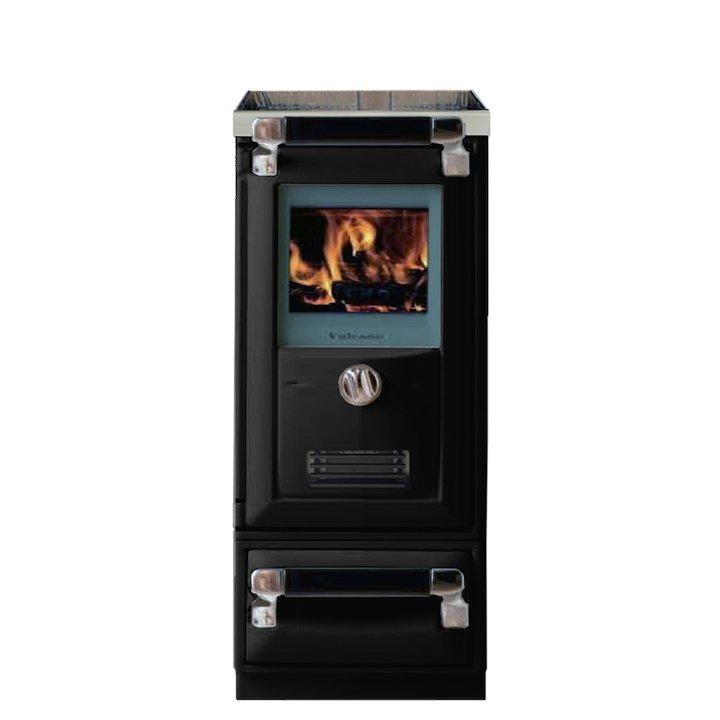 Lacunza Vulcano 4TE Wood Burning Boiler Cooker Enamel Black Storage Draw Base - Enamel Black