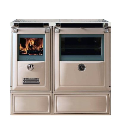 Lacunza Vulcano 7TE3 Wood Burning Boiler Range Cooker Enamel Ivory Glass Cooking Top