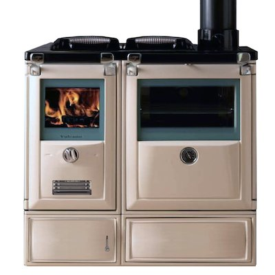 Lacunza Vulcano 7TE5 Wood Burning Boiler Range Cooker Enamel Ivory Cast Cooking Top