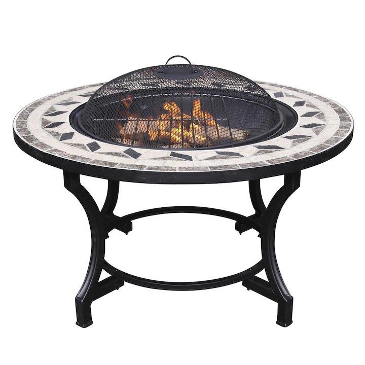Gardeco Calenta Mosaic Outdoor Firepit - Black