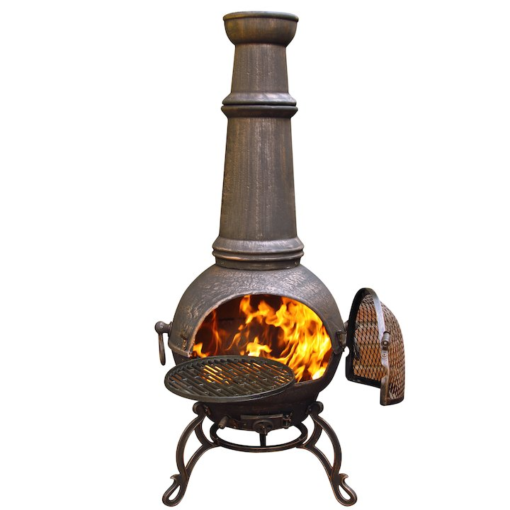 Gardeco Toledo Plain Jumbo Cast-Iron Chiminea - Bronze