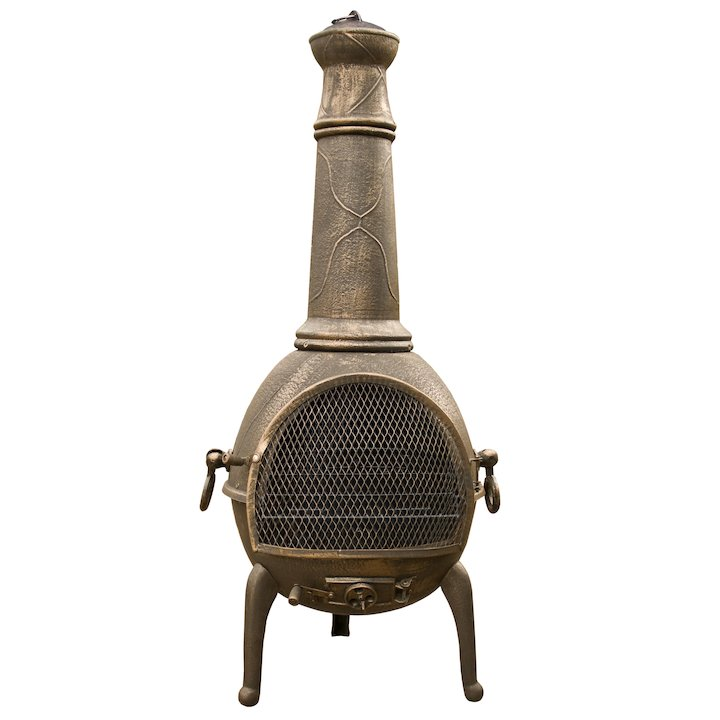 La Hacienda Sierra Jumbo Cast-Iron Chiminea - Bronze