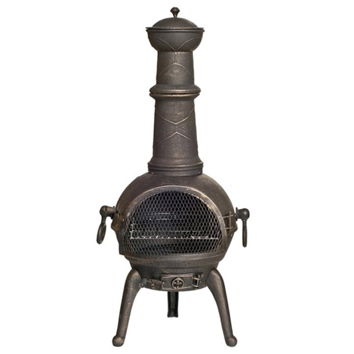 La Hacienda Sierra Large Cast-Iron Chiminea - Bronze