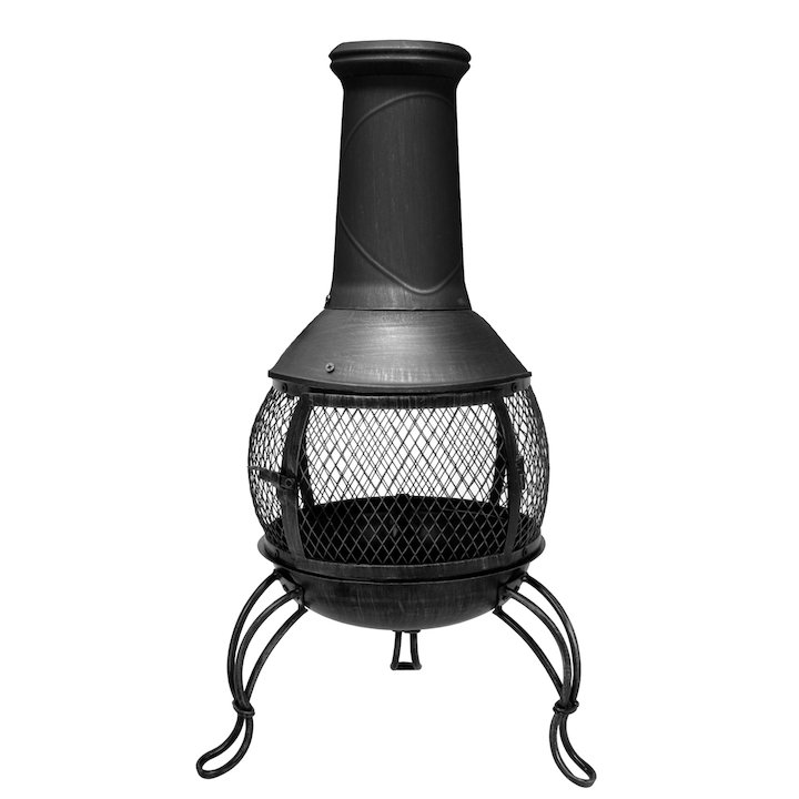 La Hacienda Leon Medium Steel Chiminea - Bronze