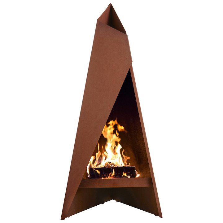 Heta Tipi 147 Outdoor Modern Chiminea - Corten Steel