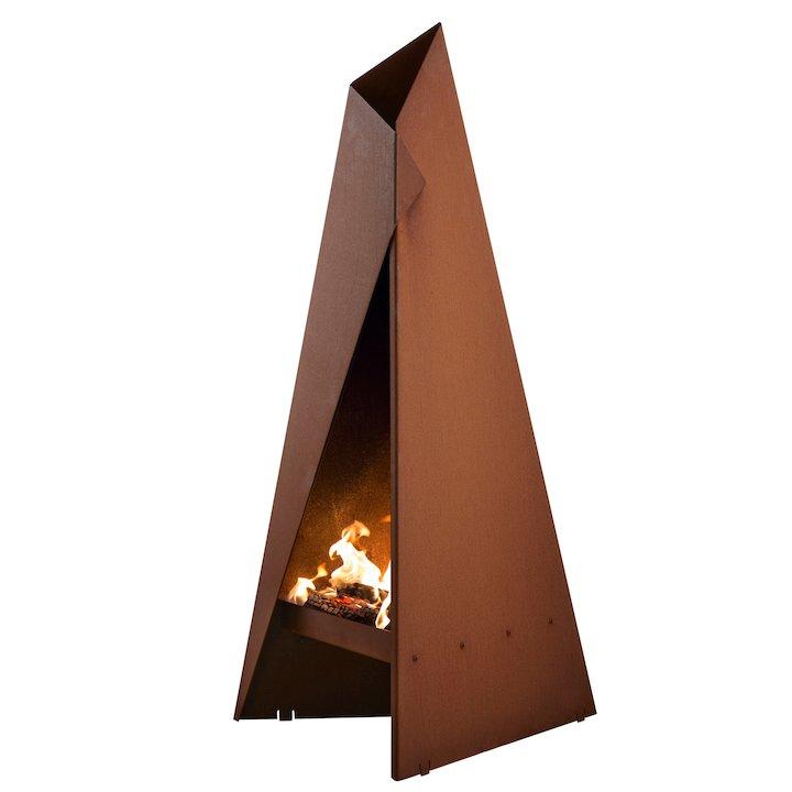 Heta Tipi 96 Outdoor Modern Chiminea - Corten Steel
