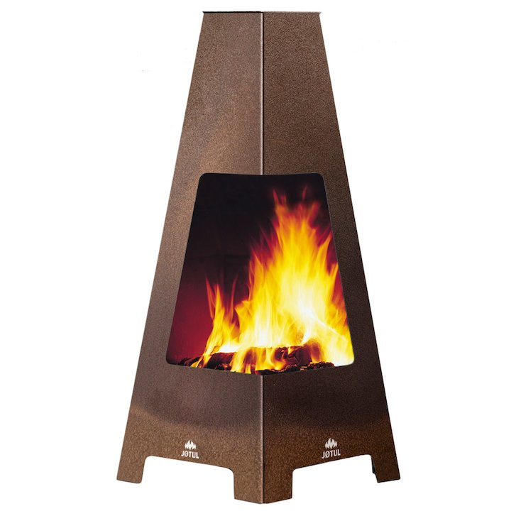 Jotul Terrazza Outdoor Modern Chiminea - Corten Steel
