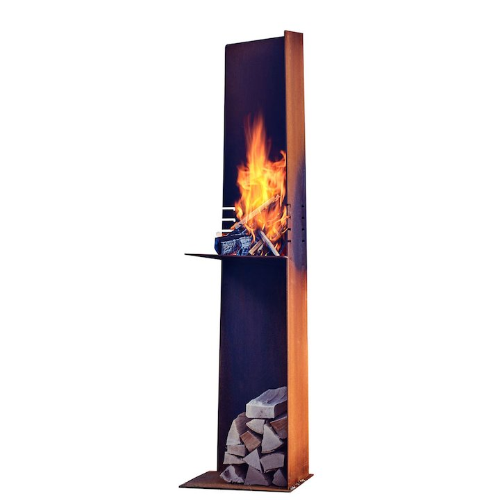 Rais Angle Outdoor Modern Chiminea - Corten Steel