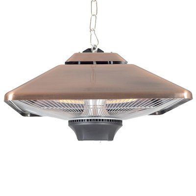 La Hacienda Copper Square Hanging Halogen 2000W Electric Patio Heater - With Light
