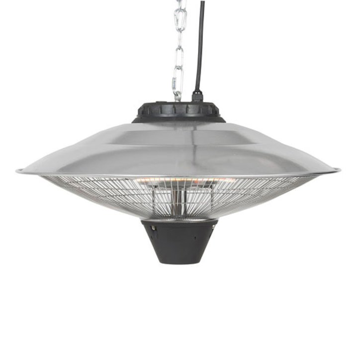 La Hacienda Silver Hanging Carbon Fibre 2100W Electric Patio Heater - Silver Filigree