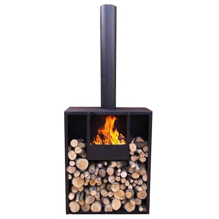 Gardeco Earon Outdoor Wood Stove - Black