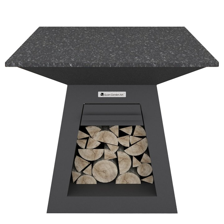 Quan Quadro Premium Large Plancha Firepit Table - Black