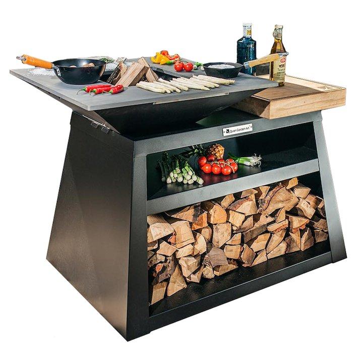 Quan Quadro Basic Big Plancha Firepit Table - Black