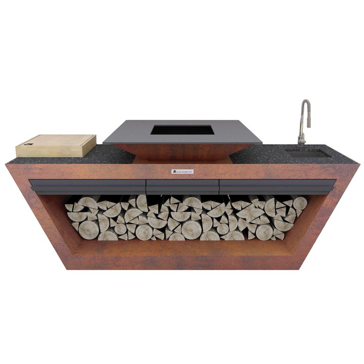 Quan Rolling Kitchen Table With Plancha Firepit and Sink - Corten Steel