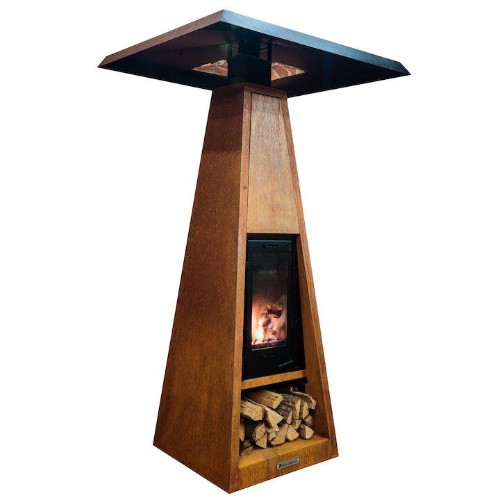 Quan Wood Fired Outdoor Heater - Corten Steel