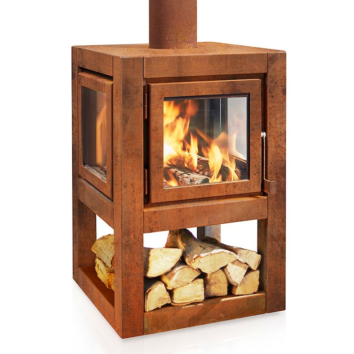 RB73 Quaruba L Mobile Outdoor Wood Stove - Corten Steel