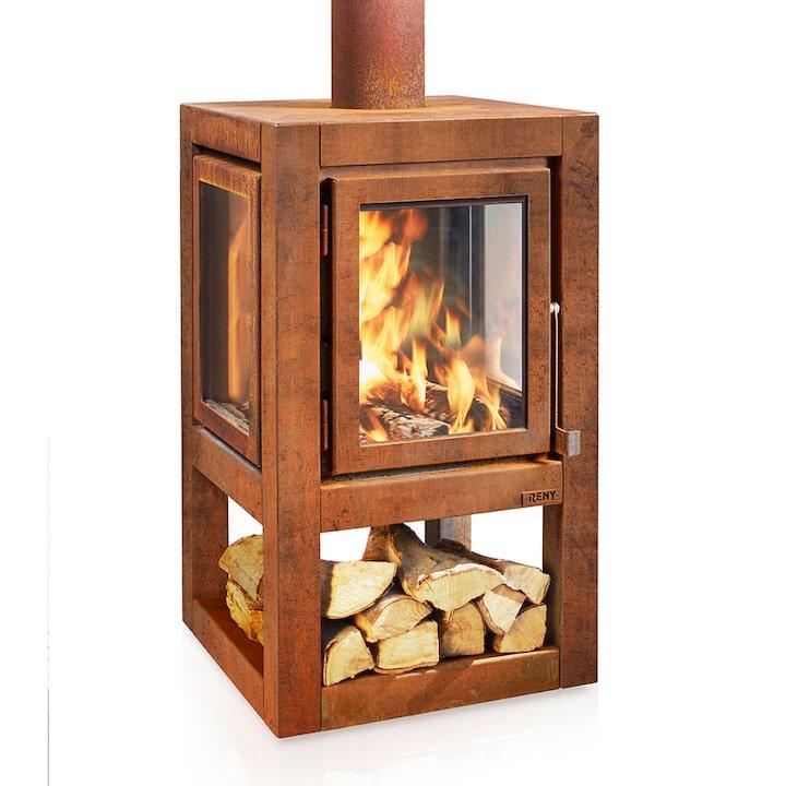 RB73 Quaruba XL Mobile Outdoor Wood Stove - Corten Steel