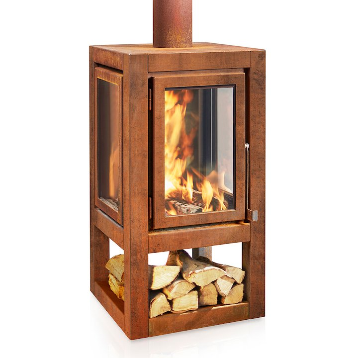RB73 Quaruba XXL Mobile Outdoor Wood Stove - Corten Steel