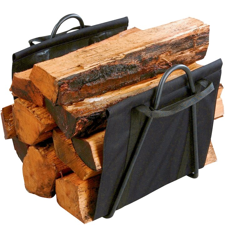 Calfire Clive Canvas Log Carrier - With Stand - Black