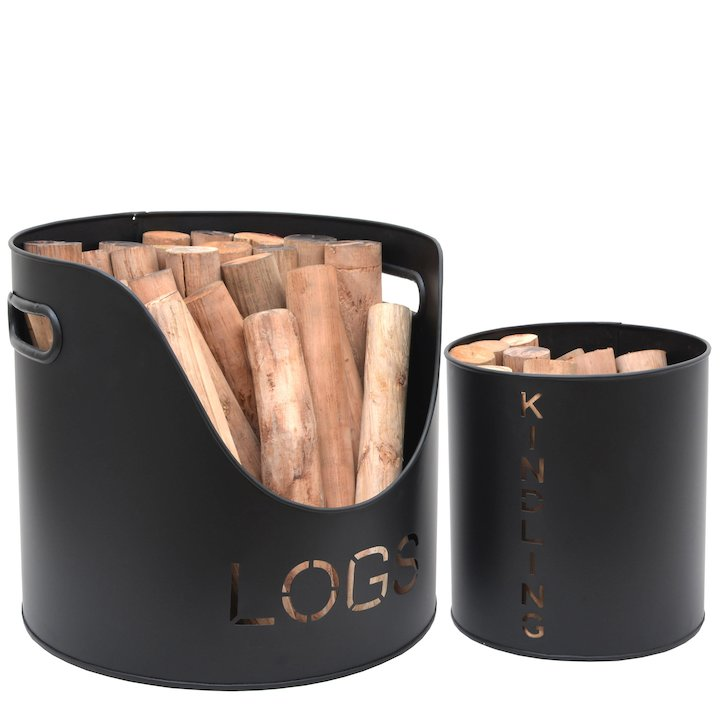 Calfire Stockholm Wood & Kindling Log Tubs - Set of 2 - Black