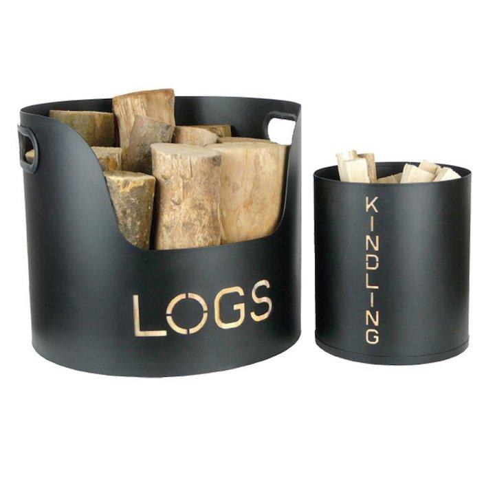 Manor Wood & Kindling Log Tubs - Set of 2 - Black