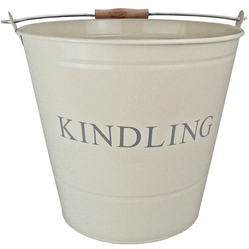 Manor Large Kindling Wood Bucket - With Lid - Cream