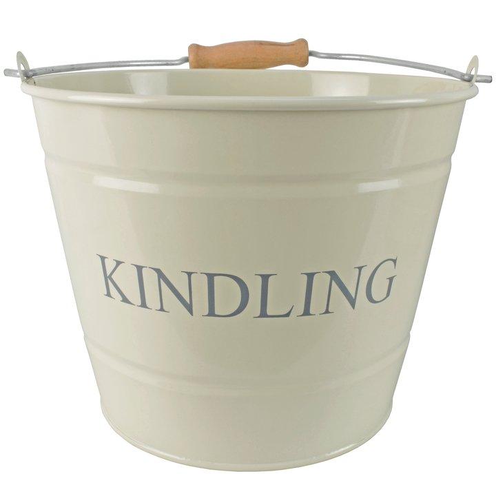 Manor Small Kindling Wood Bucket - With Lid - Cream