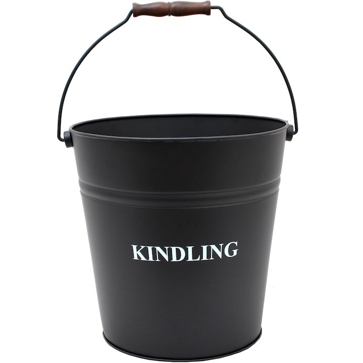 Calfire Kindling Wood Bucket - With Lid - Black