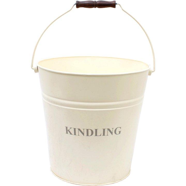 Calfire Kindling Wood Bucket - With Lid - Ivory