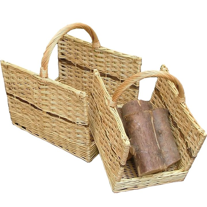 Calfire Open End Log Baskets - Set of 2 - Brown