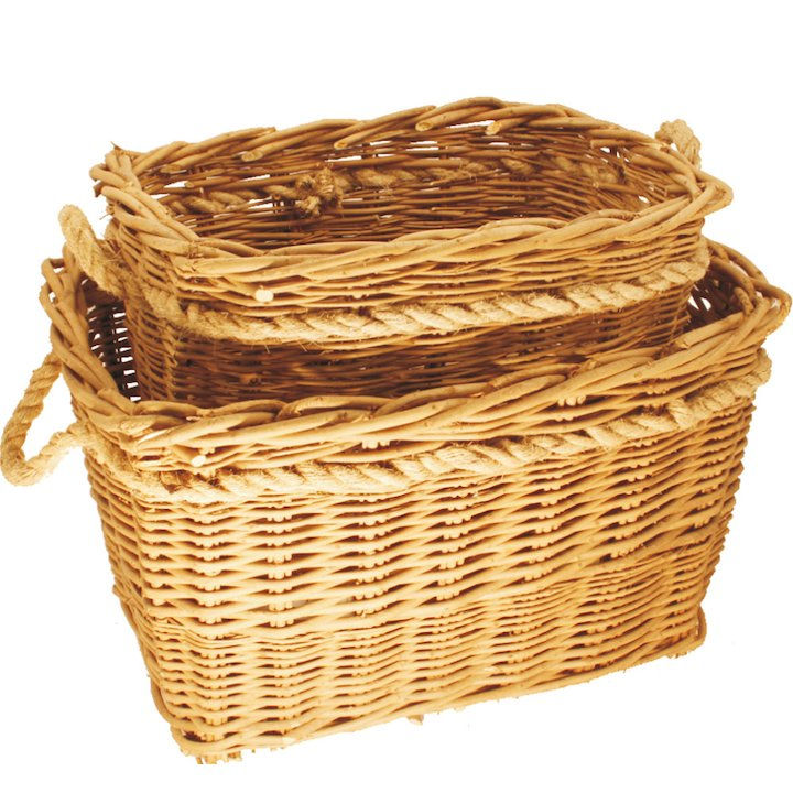 Calfire Deep Mill Log Baskets - Set of 2 - Brown