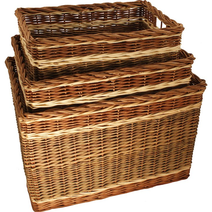 Calfire Oblong Log Baskets - Set of 3 - Brown