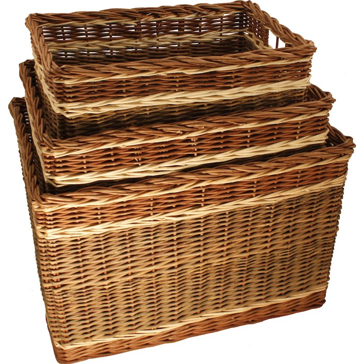 Calfire Oblong Large Log Basket - Brown