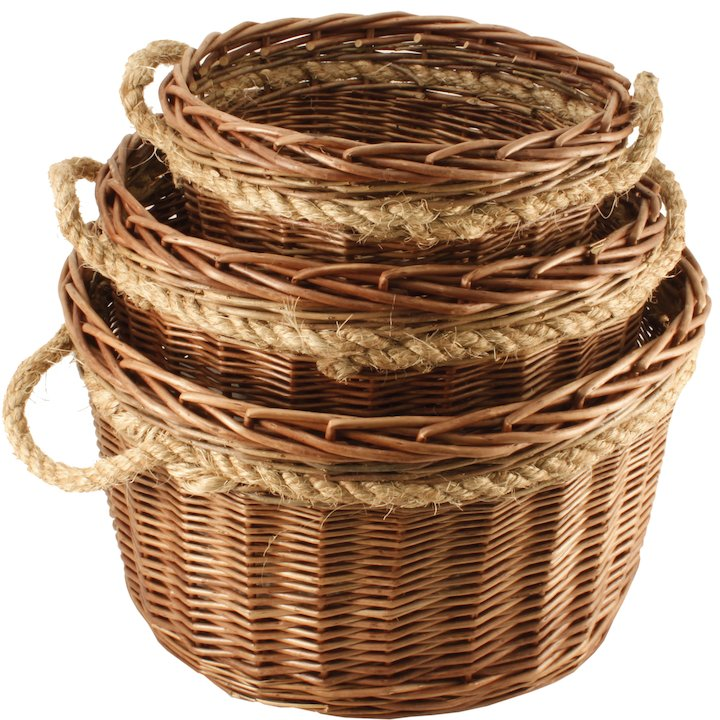 Calfire Round Small Log Basket - Brown