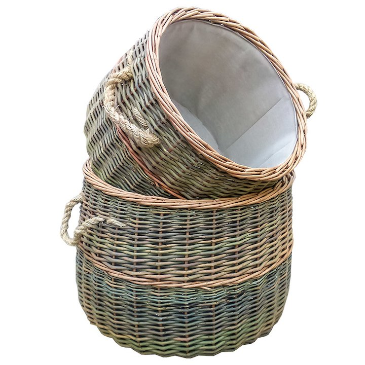 Calfire Country Log Baskets - Set of 2 - Brown
