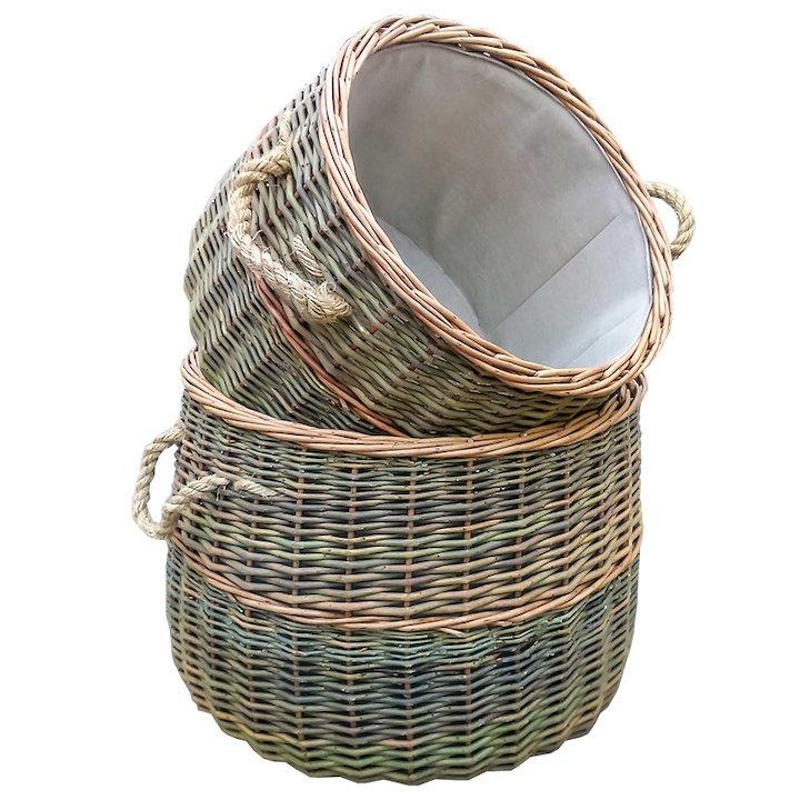 Calfire Country Log Baskets - Set of 2 - Brown