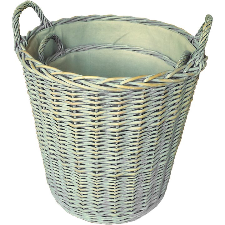 Calfire Provence Log Baskets - Set of 2 - White