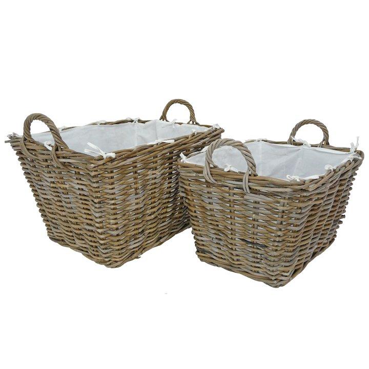 Manor Grosvenor Log Baskets - Set of 2 - Brown