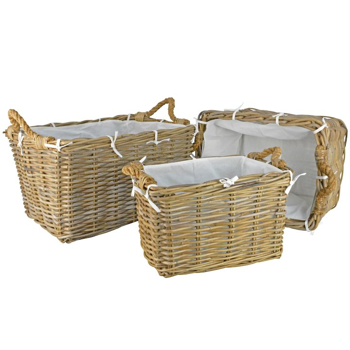 Manor Hilton Log Baskets - Set of 3 - Brown