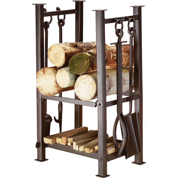 Calfire Felton Log Holder - With Fire Tools - Black