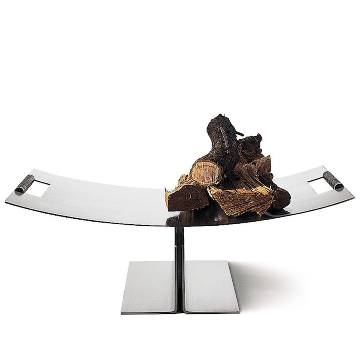 Conmoto Peter Maly Raised Tray Log Holder - Stainless Steel