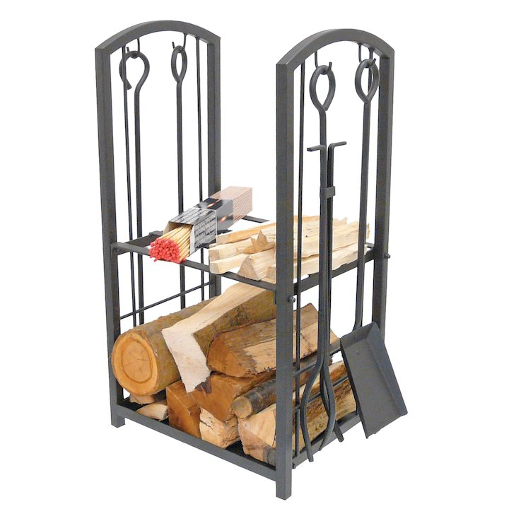 Manor Station Log Holder - With Fire Tools - Black
