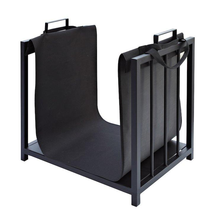Manor Rack Log Holder - With Canvas Bag - Black