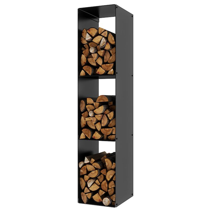 Rais Firewood 3 Rack Log Holder - Black