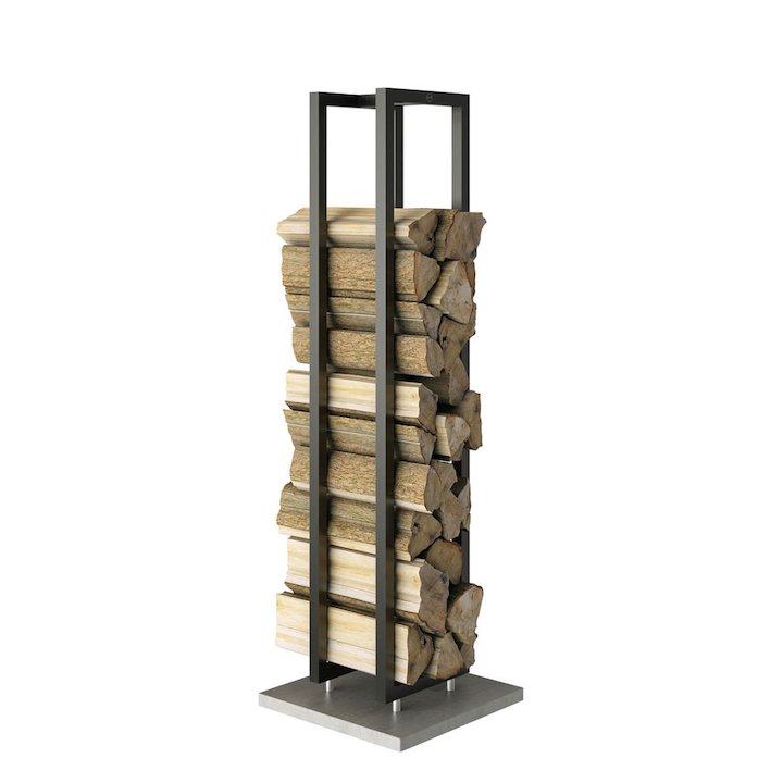 Rais Woodwall Short Freestanding Log Holder - Black