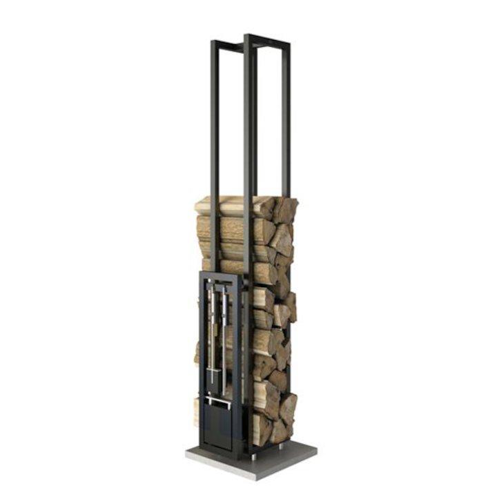 Rais Woodwall Short Freestanding Log Holder - With Fire Tools - Black