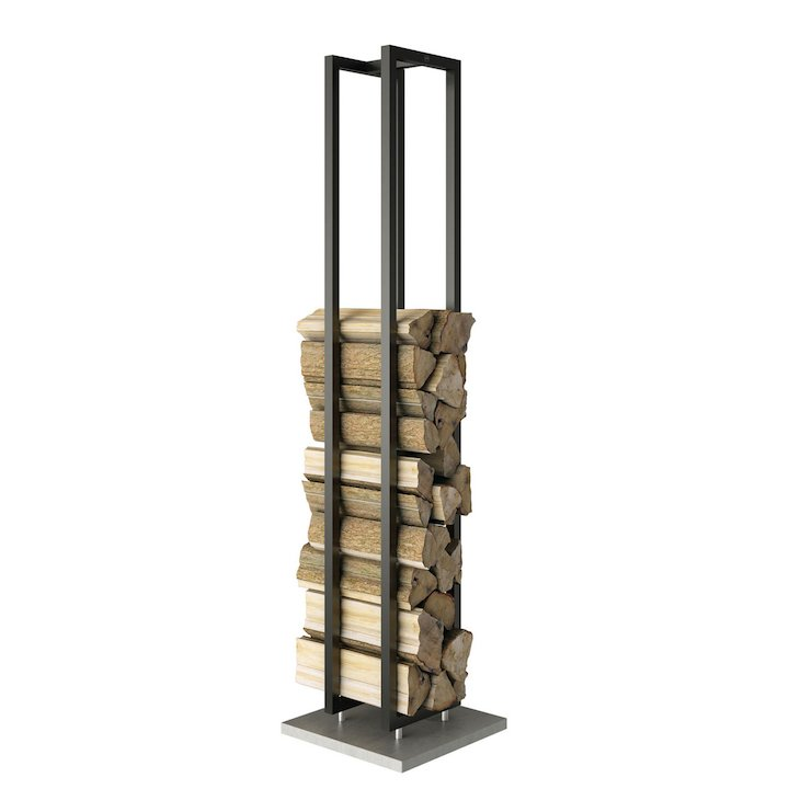 Rais Woodwall Tall Freestanding Log Holder - Black