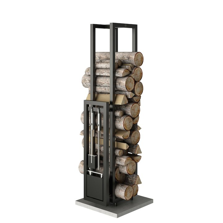 Rais Woodwall Tall Freestanding Log Holder - With Fire Tools - Black